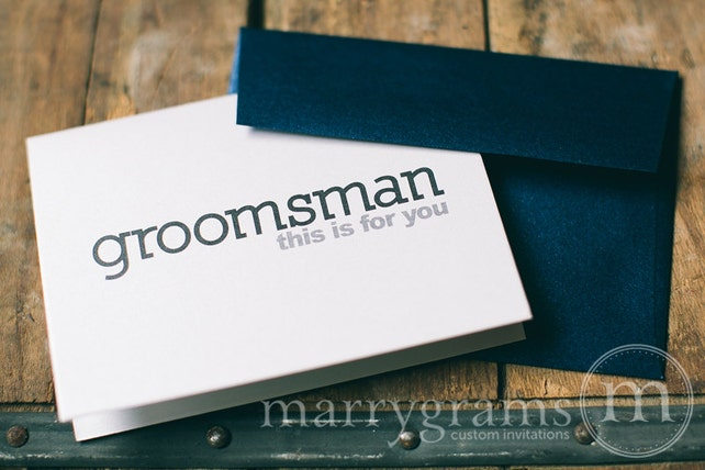 Thank You Cards for Groomsmen - Card for Best Man, Usher, Ring Bearer- Wedding Cards for Guys to Thank Groomsman, Guys - Single Listing