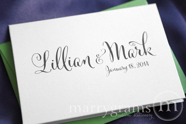 Custom Wedding Thank You Cards Names Date Bridal Shower