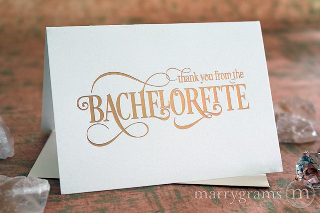 ROSE GOLD FOIL Thank You From the Bachelorette, Bridal Shower, Engagement, Bachelorette Party Thank You Notes, Cute Card Gift Set CS06