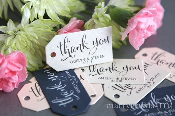 Wedding Favor Tags - Thank You Custom Personalized Names & Date Tags Perfect for S'mores, Chocolate, Dessert Tags, Koozie Bulk Listing SS07
