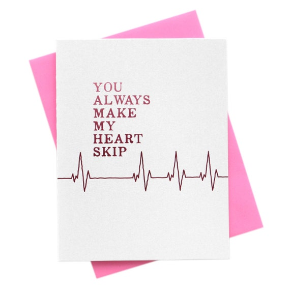 Valentine's Day Card Love, You Always Make My Heart Skip, I Love You, Friendship, Romance, Pink Red Vday Greeting Card, Nurse, Doctor Cute!