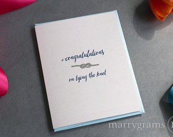 Congratulations on Tying the Knot - Cute 'Knot' Wedding Day Card for the Newlyweds to go w/ Gift - 'Tie the Knot' Bridal Shower Card - WC120