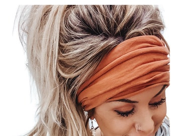 Cognac Scrunch Headband, Extra Wide Headband, Jersey Headband, Turban Jersey Headband, Boho Headband, Boho head wrap (women, teen girls)