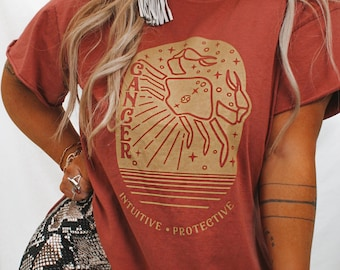 Cancer Zodiac Brick Side Slit, Retro Shirt, Bohemian Tee, Wanderlust Shirt, Gypsy Tee, Zodiac Shirt, Free Spirit Shirt, Tarot Shirt