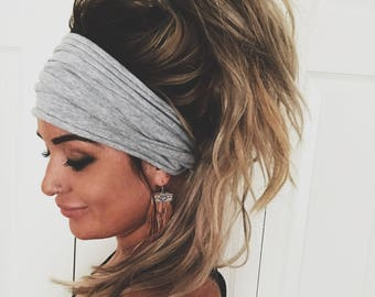 Gray Scrunch Headband, Extra Wide Headband, Turban Headband, Extra Wide Jersey Headband, Boho Headband, Boho head wrap (women, teen girls)