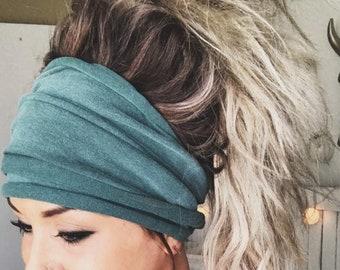 Spruce Scrunch Headband, Extra Wide Headband, Turban Headband, Extra Wide Jersey Headband, Boho Headband, Boho head wrap (women, teen girls)