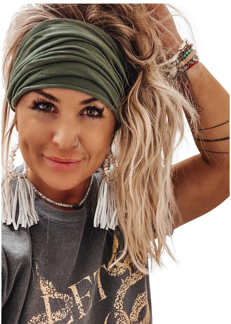 Olive Scrunch Headband Extra Wide Headband Turban Headband image 0
