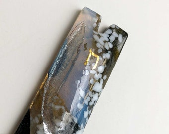 Mezuzah case black silver gold fused glass hand painted shin, masculine classic Jewish home