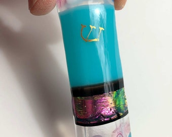 mezuzah case fused glass, Hebrew shin, turquoise, pink dichroic Jewish home blessing