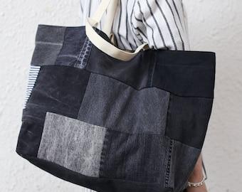 b7cee5e9fb Black Denim Tote Bag