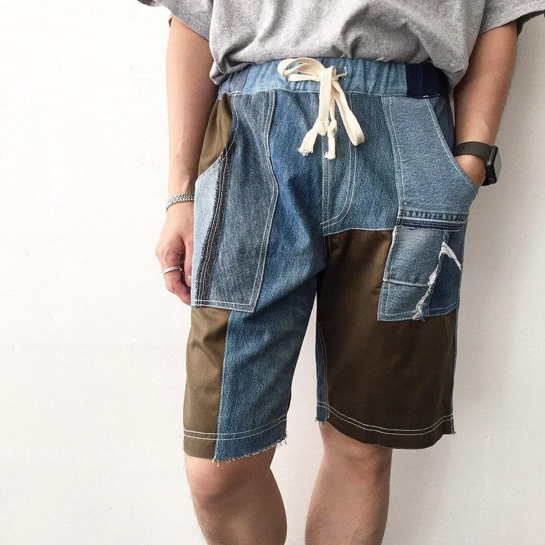 Army Denim Patchwork Shorts