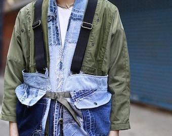 Denim Patchwork Hunting Vest