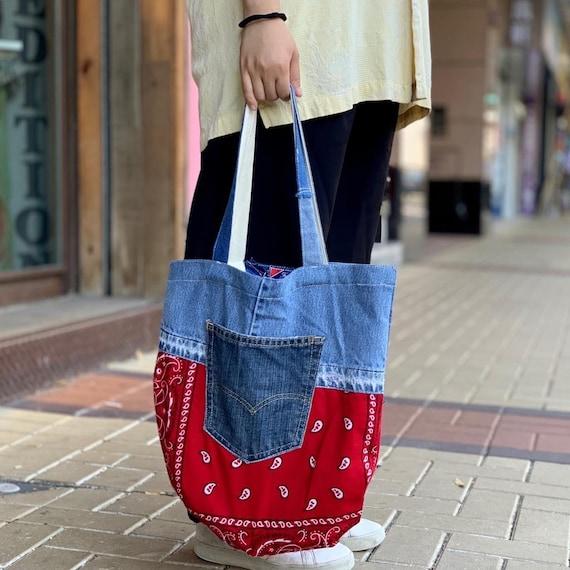 Denim Blue Bandana Tote Bag