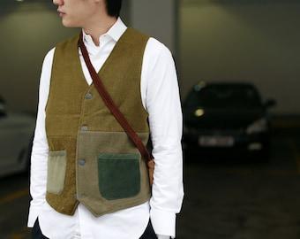Vintage Military Material Patchwork Vest