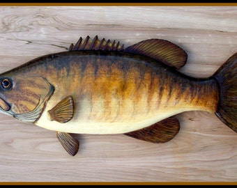 SMALLMOUTH BASS wood carving folk art fish wall mount