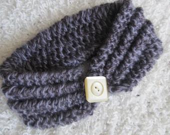 Handknit wool child's headband or girl's/woman's neckband. Reversible