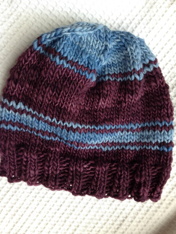 7e8fbb49e4b Wool Handknit Hat Blue and Wine Color One of a Kind