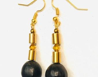 10 mm rote Koralle Halbedelstein Ohrringe Ohrhänger Earrings