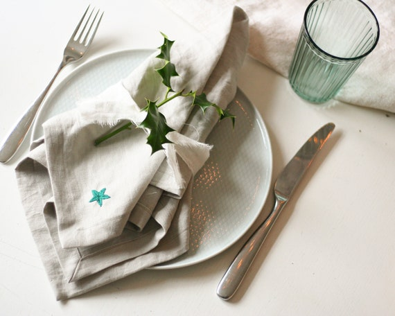 pair of hand embroidered pure linen napkins