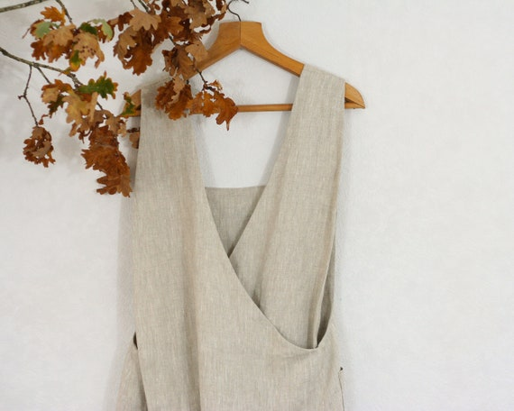 pure linen Japanese crossover apron