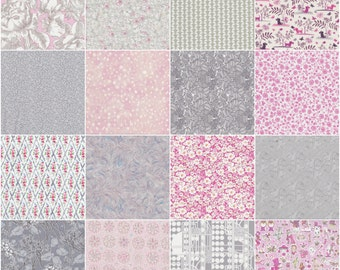 """36 Liberty print pink and grey charm pack, 5"""" patchwork squares"""