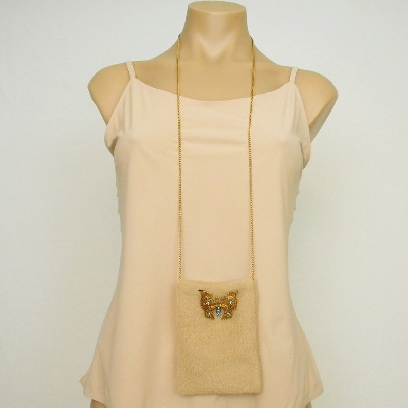 Goldtone Butterfly Brooch Tan Fleece Cell Phone Pouch Small Purse Bag
