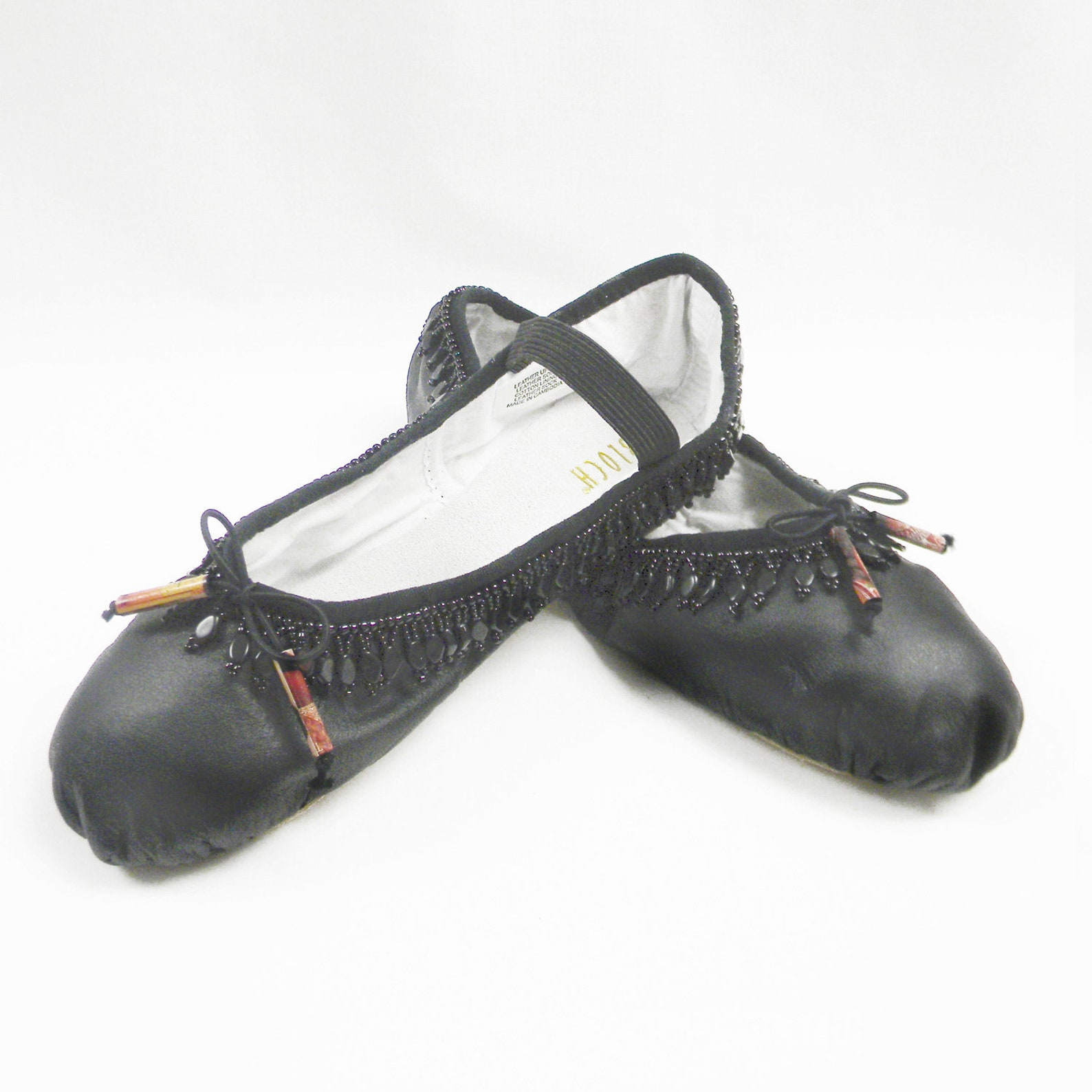 beaded ballet slippers, black leather bloch dance shoes, size 6.5b