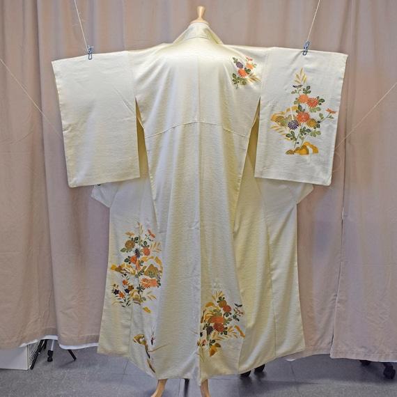 Vintage Genuine Japanese Silk Kimono Yellow Florals