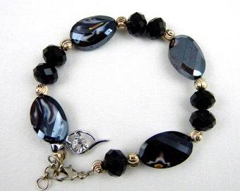 Dark Blue Bead Bracelet