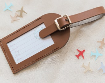 Wedding Favors Bon Voyage Save the Date Leather Luggage Tag | Etsy