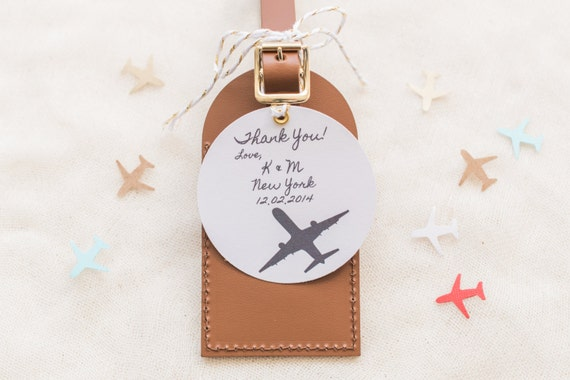 Wedding Favors I\'ll Fly Away Leather Luggage Tag | Etsy