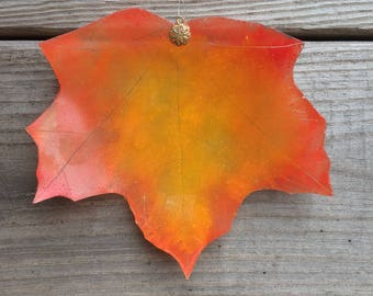 Upcycled Stained Glass Autumn Leaf
