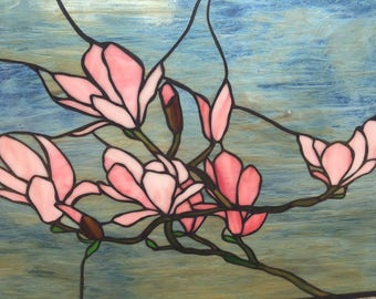 Stained Glass Magnolia Hanging Window Panel