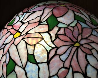 Poinsettia Tiffany Style Stained Glass Floor Lamp