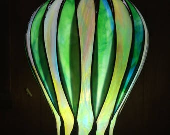 Long Leaf Stained Glass Green Table Lamp