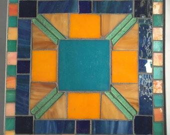"Turquoise Blue and Orange Geometric 9.5"" x 9.5"" Table Mosaic Trivet"