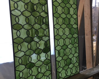 Lacinato Kale Green Stained Glass Window Panels