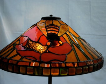 Original Design Bumble Bee and Poppy Flower Stained Glass Tiffany Style Lampshade