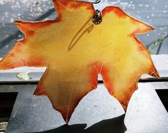 Orange and Yellow Autumn Leaf Suncatcher