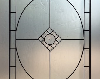 Clear Beautifully Textured Leaded Glass Hanging Window Panel