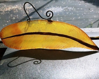 Yellow and Red Tipped Feather Suncatcher