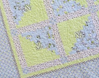 Blue and Green Log Cabin Crib Quilt - Made from Anna Griffin Fifi and Fido Fabric