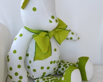 Olive - Ombre Dot Teddy Bear using Moda Dotty Ombre Fabric in Lime Green and White