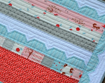 Handmade Little Red Riding Hood Woodlands Quilt - Moda Fabric - Walk in the Woods - Blue, Grey, Pink and Red