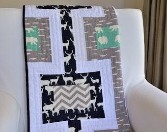 Handmade Modern Woodland Crib Quilt - Organic Birch Fabric - Bear Camp, Elk Grove, Feather River & Mod Basics - Navy, Grey, Mint Green