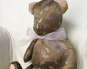 Chinese Silk Brocade Teddy Bear - Bronze, Pink and Green Cherry Blossoms Pattern
