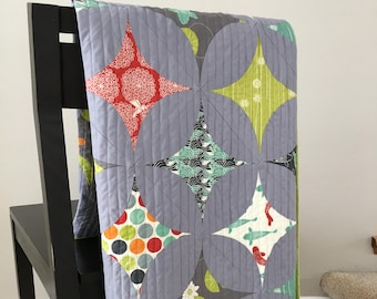 Handmade Modern Japanese Star Gazer Quilt - Organic Birch Fabric - Eiko -  Gray, Lime Green, Turquoise, Red and Orange and Red