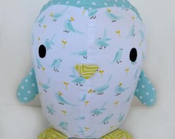 William Blue Nautica Plaid Fabric Teddy Bear With Corduroy