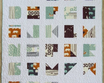 MADE TO ORDER - Modern Alphabet Crib Quilt - Organic Cotton Camp Modern and Bear Hike Birch Fabric  - Mint, Blue, Orange, Brown and Grey