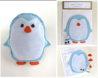 Learn to Sew Kit for Kids - Blue Penguin